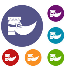 Boot with buckle icons set vector