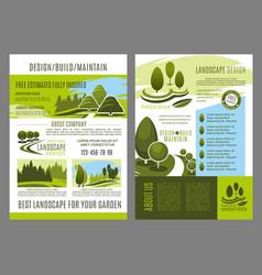 brochure of landscape design build vector image vector image