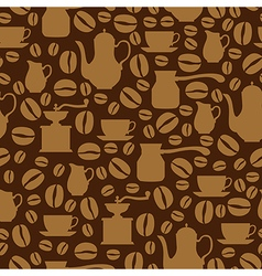 Coffee seamless beige vector