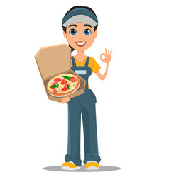 courier woman holding tasty hot pizza and showing vector image vector image