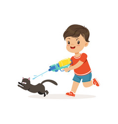 Cute bully boy pouring a black cat out of a water vector