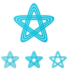 Cyan line pentagram logo design set vector image