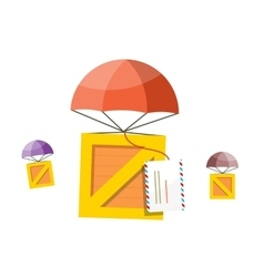 Delivery box air mail parachute vector