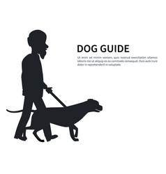 dog guide silhouette old man holding pet vector image