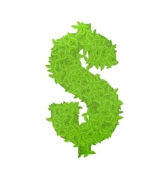 Dollar sign consisting of green leaves vector image