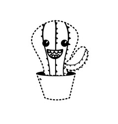 dotted shape kawaii cute happy cactus plant vector image