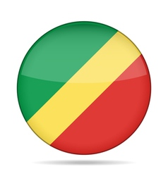 Flag of congo shiny round button vector