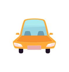 Flat cartoon yellow sedan car isolated vector