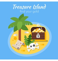 Flat style of treasure island and map vector