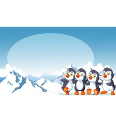 funny penguins cartoon with snow mountain vector image