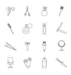 Hairdresser icon set outline vector image