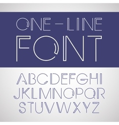 Linear font one line style font vector