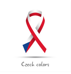modern colored ribbon with the czech tricolor vector image vector image