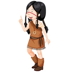 Native american indians girl in costume vector