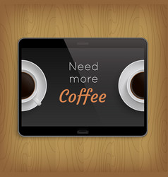 realistic tablet on wooden table vector image vector image