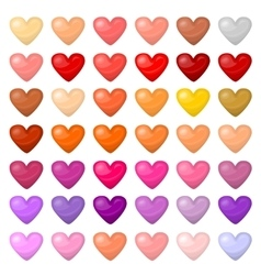 Set of colorful hearts Palitra of different vector image vector image