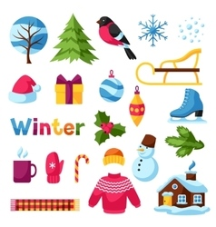 Set of winter objects Merry Christmas Happy New vector image vector image