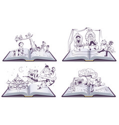 Set open book tale story of pinocchio vector