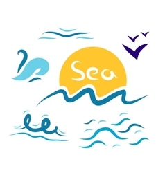 Set the wave sea gulls vector image vector image