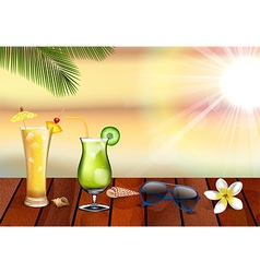 Summer holiday with fresh drinks vector