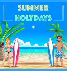 summer poster for holidays with surfers and sea vector image