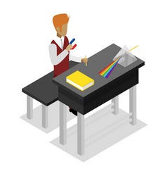 teacher teaching physics isometric 3d icon vector image vector image