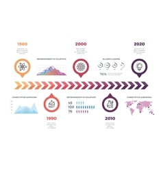 Timeline infographic template with world vector