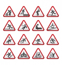 warning hazard signs vector image vector image