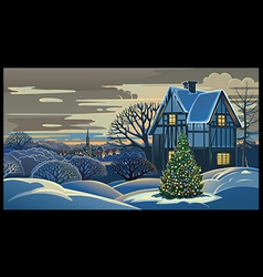 Winter landscape Christmas vector image vector image