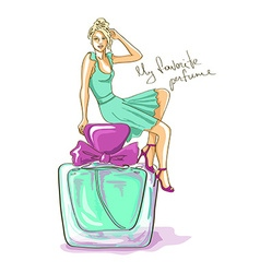 with girl and perfume bottle vector image vector image