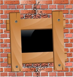 wooden frame on brick wall vector image