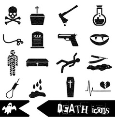Death theme set of black simple icons eps10 vector