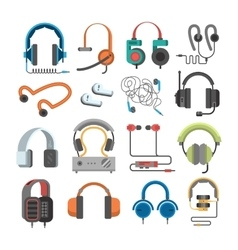 Headphone icons set on white background vector