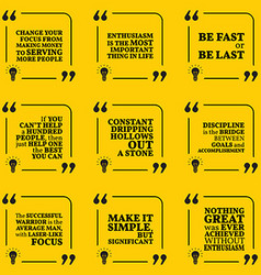 Set of motivational quotes about serving vector