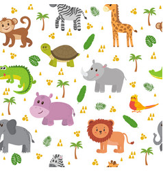 African animals seamless pattern cute cartoon vector
