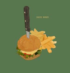 hamburger with french fries cheese burger vector image