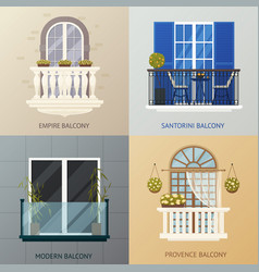 balcony design compositions set vector image