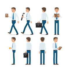 businessman character with bag and book in hands vector image