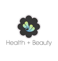 Leaf health and beauty spa logo in flower frame vector
