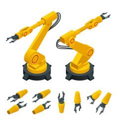 Isometric robotic arm hand industrial robot flat vector