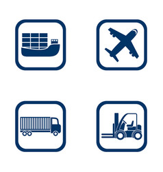 flat design icons export import set vector image