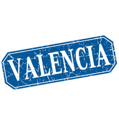 Valencia blue square grunge retro style sign vector