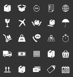 Shipping icons on black background vector