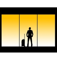 Man in airport lounge vector