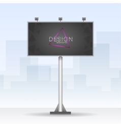 Outdoor billboard with neon triangle element vector