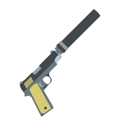 Pistol with silencer flat icon vector