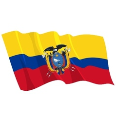 Political waving flag of ecuador vector