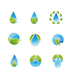 Water leaf icons set vector