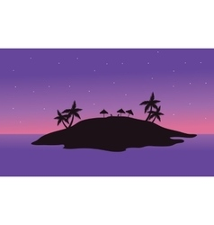 At night islands scenery silhouette vector