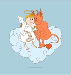 Angel and devil are friends valentines day vector